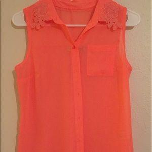 Orange Vera wang button down neon blouse